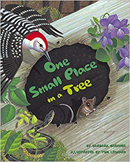 The illustrated cover of a children's book, with a woodpecker, violets, a mouse and a snake surrounding a hole on a fallen log.
