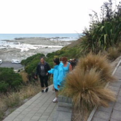 Board members heading out from Point Keen on the Kaikoura Peninsula Walkway, 2016 - Photographer Kath Inwood