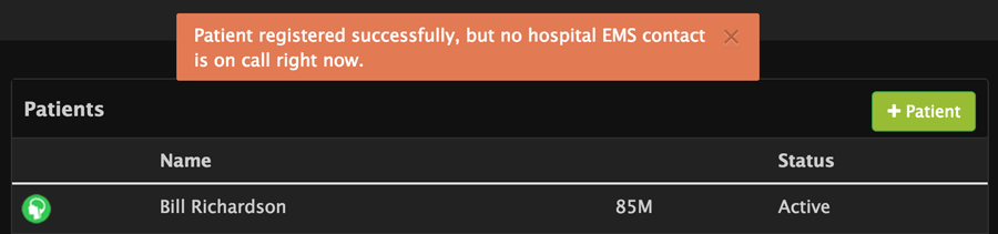 No hospital EMS contact on call alert