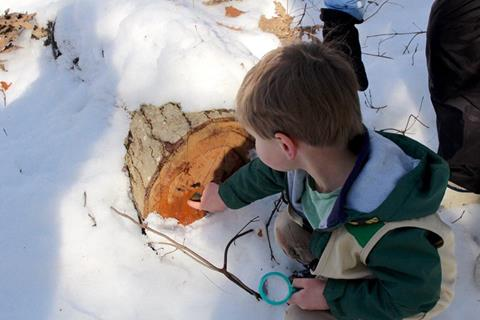 A boy using a magnifying class to examine a log