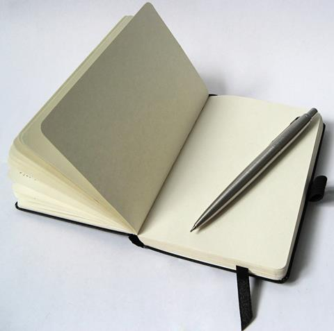 Blank pages of an open notebook