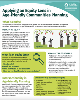 """Cover of a PDF document titled """"Applying an Equity Lens in Age-friendly Communities Planning"""""""