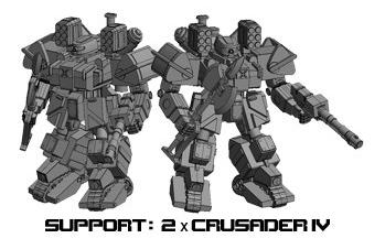 Graphic of Crusader IV Miniature from Heavy Gear Blitz Kickstarter