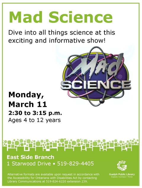 Children ages 4 to 12 years are invited to dive into all things science at this exciting and informative show at the East Side Branch.