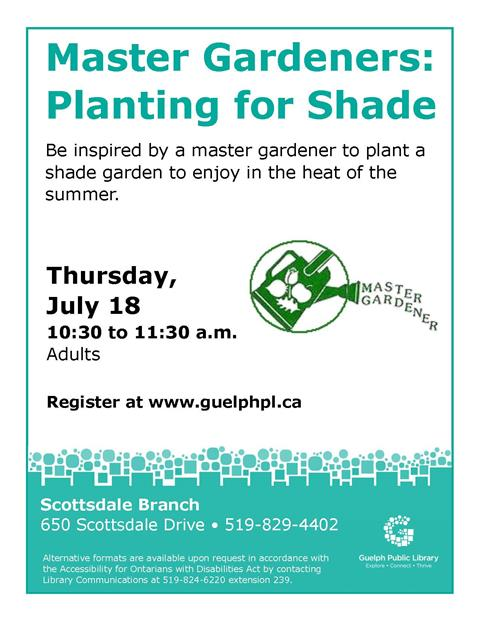 Register for our Master Gardeners: Planting for Shade event on Thursday July 18 from 10:30 to 11:30 am in our Scottsdale Branch. This is a free event that is aimed for adults.