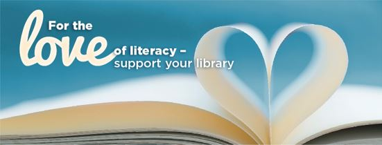 This is the image for the love of literacy support your library campaign. The image is of an open book with two pages bent together to form a heart.