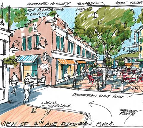 A sketch of the proposed plaza in Kamloops
