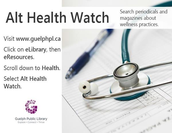 This is the poster for the data base Alt Health Watch. Periodicals and magazines can be searched about wellness practices. The poster includes instructions on accessing the database through the website or just click on the picture and the hyperlink will connect to the database directly.