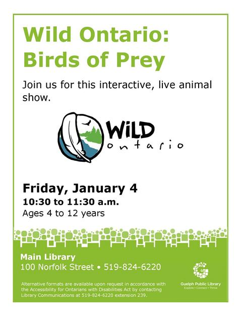 This is the poster for Wild Ontario: birds of prey. This will be held Friday January 4 at 10:30 a.m. at the Main Library.