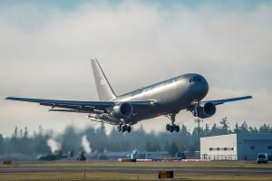 The first KC-46 tanker for the USAF takes off from Paine Field on its maiden flight. Credit; Boeing (Marion Lockhart)