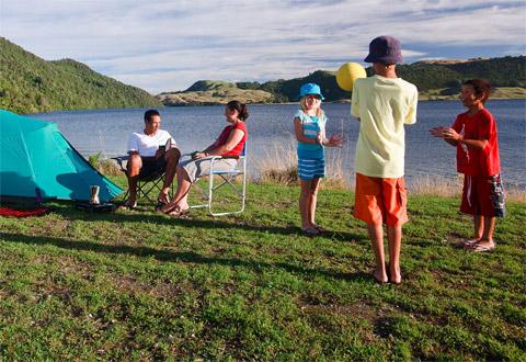 Family at Lake Okareka Campsite | Image: Nick Lambert