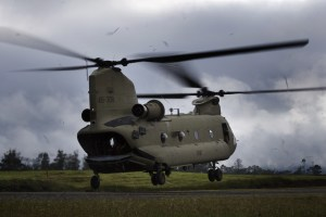 An Australian Army CH-47F Chinook helicopter lifts from Mount Hagen Airport during Operation PNG Assist 2018. Defence