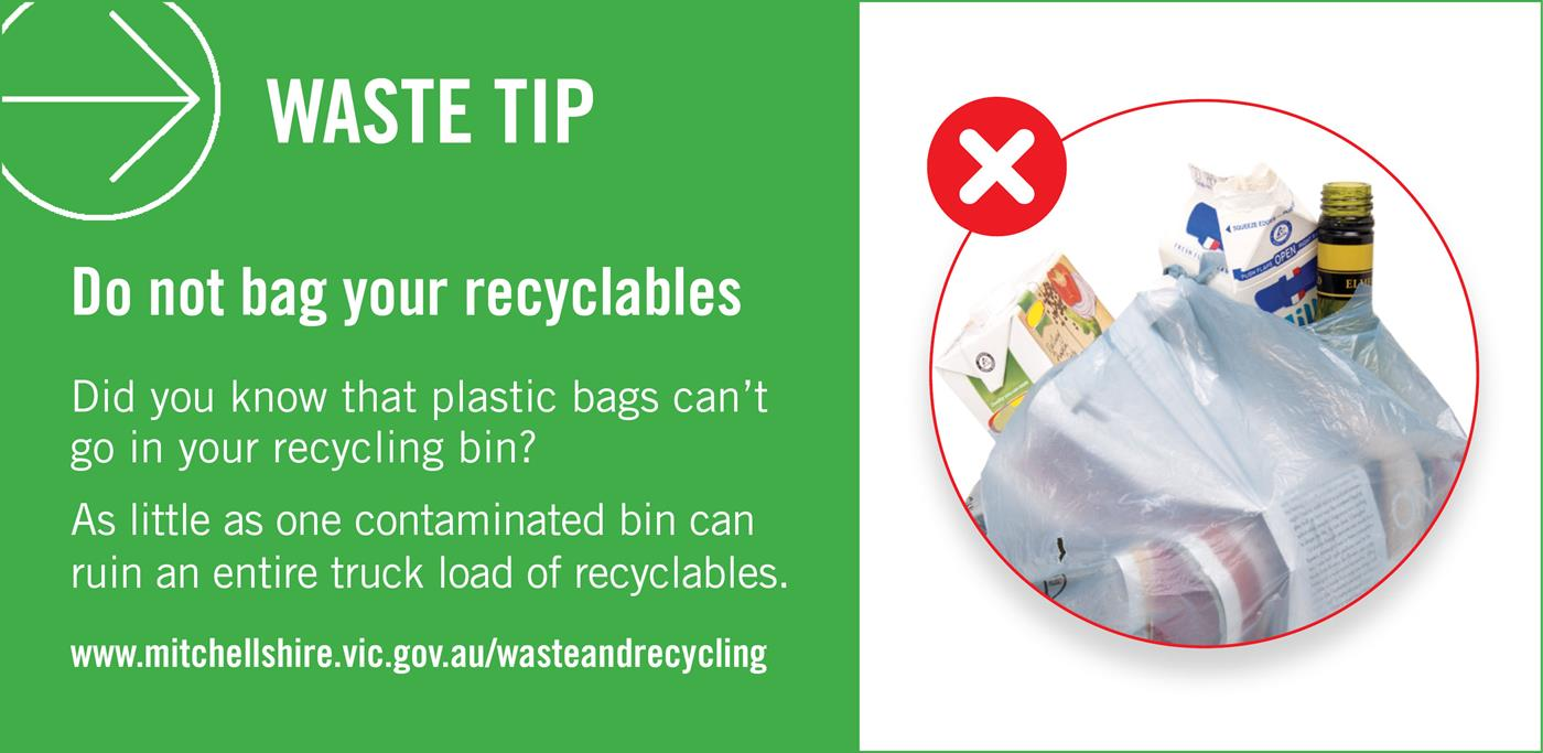 Do not bag your recyclables. Did you know that plastic bags can't go in your recycling bin? As little as one contaminated load can ruin an entire truck load of recyclables.