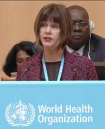 Jane O'Malley speaking at WHO