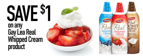 Save $1 on any Gay Lea Real Whipped Cream product