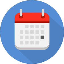 Blue circle with a red and white flip calendar in front with one day blocked by a darker grey square.