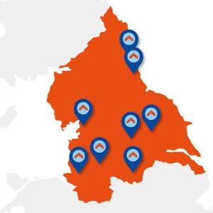N8 universities map