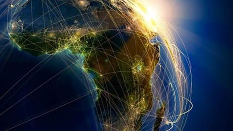 Flight paths around the world