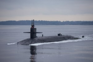 The Ohio-class submarine USS Pennsylvania transits the Hood Canal. The Ohio-class are reaching the end of their service life.