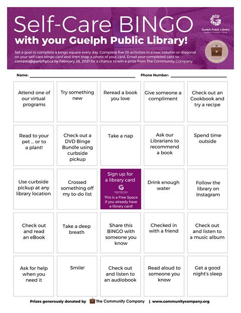 Complete the library's Self-Care Bingo card for a chance to win a prize from The Community Company.