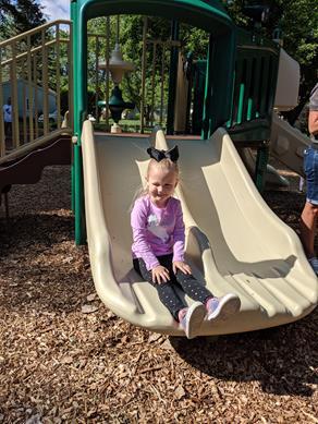 Savannah loves the new slide
