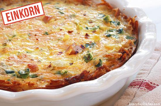 Einkorn Hash Brown Quiche with Ham
