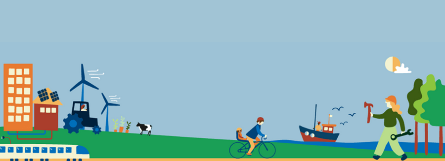 A graphic showing a range of cartoon images of green energy sources, transport and farming.
