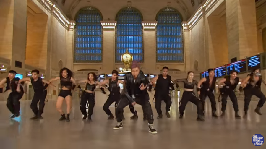 BTS performing at grand central station