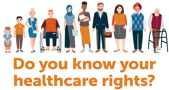 Image of many people standing together with the words: Do you know your healthcare rights