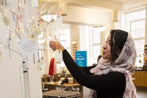 Hanging tags with written ideas on an artificial tree