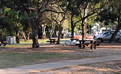 Carpark and picnic tables