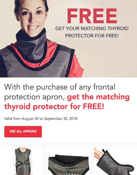 Free thyroid collar with purchase of any frontal apron