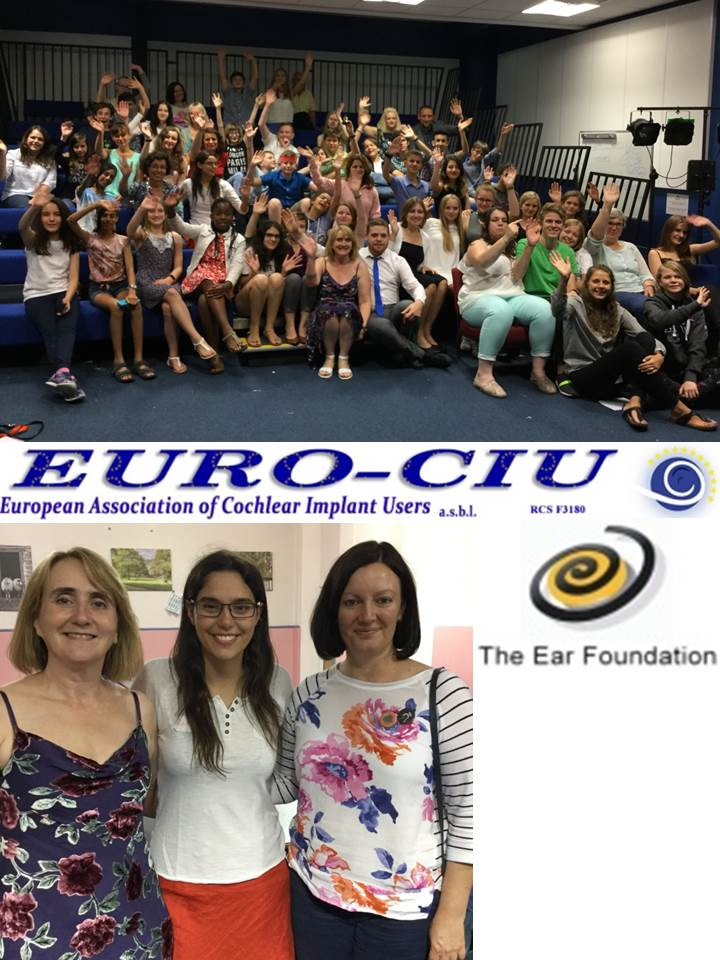 (Photos: (top) EFW group photo; (bottom) Clare Allen & Laia Zamora (Leaders) and Mel Gregory (new Chief Executive of The Ear Foundation from 1 November 2016)