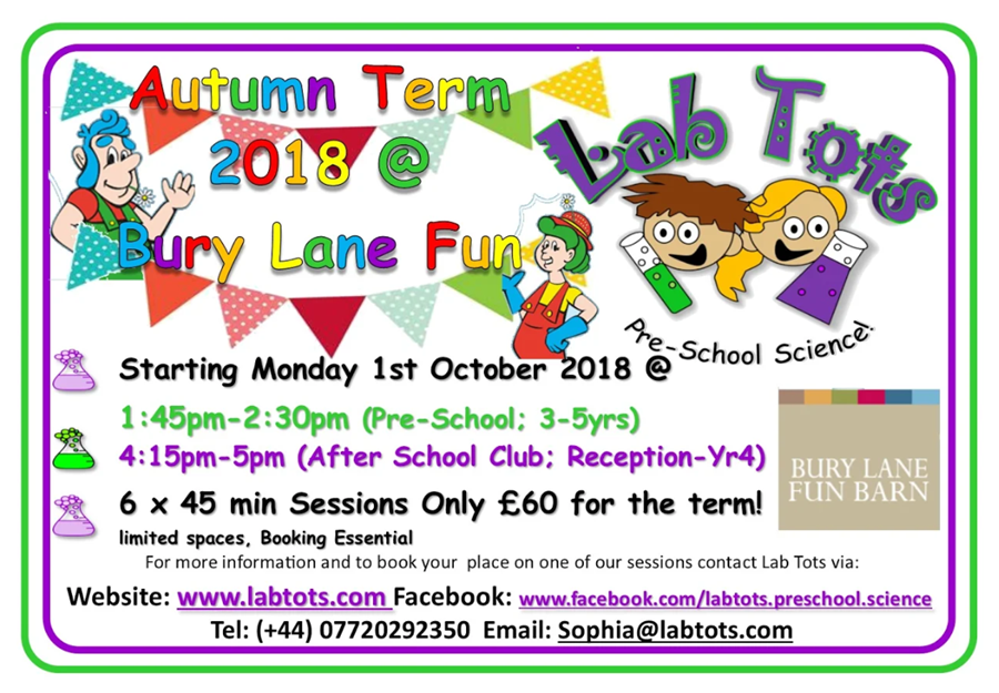 Bury Lane Fun Barn Autumn Term 2018 Labtots