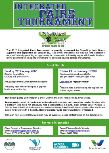 Poster promoting the integrated pairs bowls tournament.