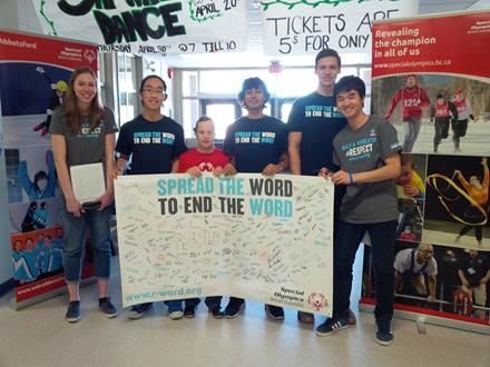 Special Olympics athletes and volunteers advocating Spread the Word to End the Word in Abbotsford
