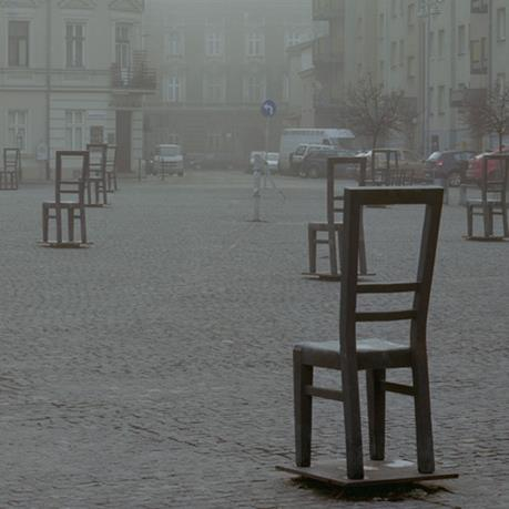 Sculptures of chairs from the ghettos of Poland