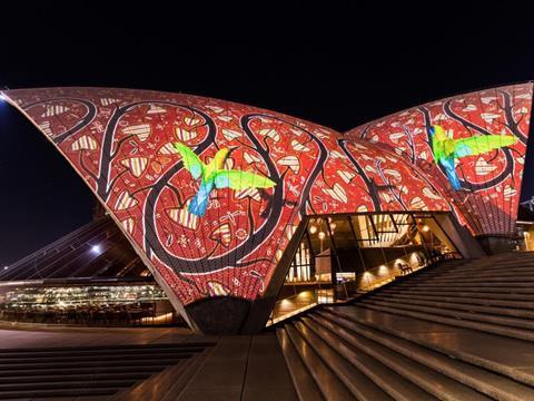 The Badu Gili light projection on the sails of the Sydney Opera House.