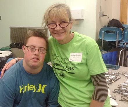SOBC athlete Bryan and Opening Eyes volunteer Anita at the Healthy Athletes Screening Day in Nanaimo