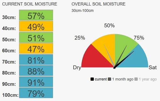 Lk Bolac (pasture) soil moisture levels at 77 per cent