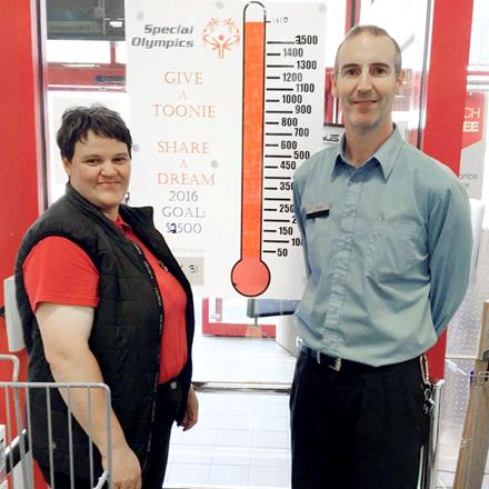 SOBC – Kimberley/Cranbrook athlete Erin Thom and Cranbrook Staples General Manager Mickey McGuire celebrate the store surpassing its fundraising goals.