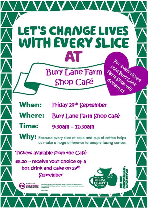 Bury Lane Farm Shop Cafe Macmillan Coffee Morning 29th September