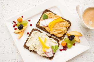spread and fruit on toast