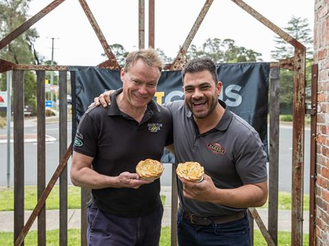 Patrick Kidd, Invictus Games CEO, with Rob Pirina, Owner of Glenorie Bakery.