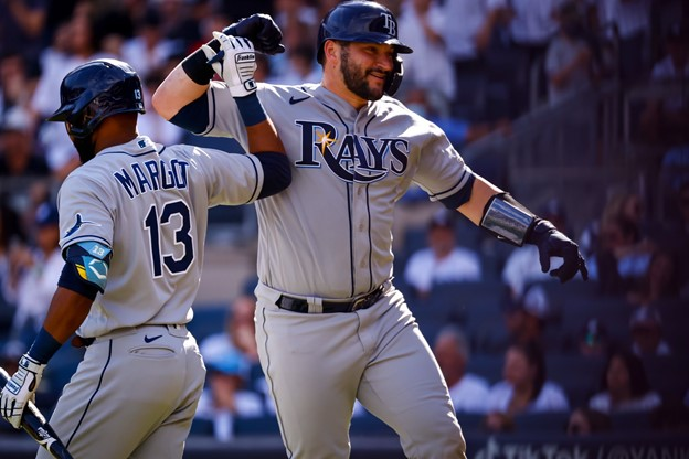 Tampa Bay Rays high fiving