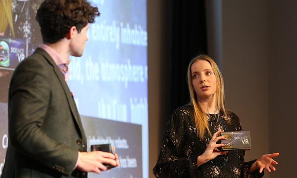 Prof Alan Duffy and Dr Rebecca Allen presenting SciVR
