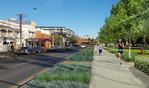New Whitmore Square design with footpath around the edge