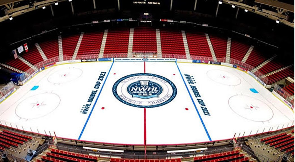 Overhead view of empty NWHL ice hockey rink