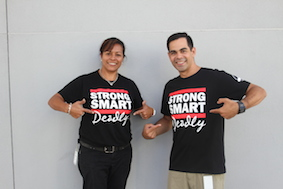 Toby & Michal wearing their Strong Smart Deadly t-shirts