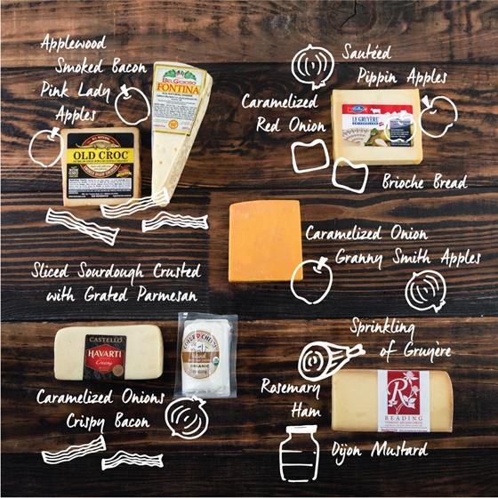 Old Croc Smoked Sharp Cheddar & Fontina, Havarti & Chèvre, Cave Aged Gruyere, and Spring Brook Farm Reading cheeses
